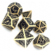 Beige & Black Celtic 3D Dice Set